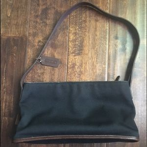 Coach Black Canvas With Brown Leather Trim